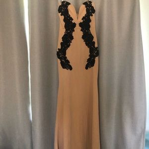 Nude and black lace formal dress